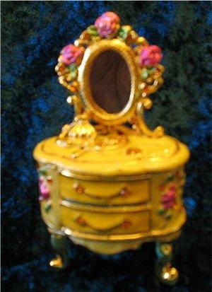 Jeweled Gold Dresser Hinged Trinket Jewelry Box