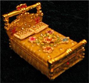 Jeweled Gold Bed Hinged Trinket Jewelry Box Bejeweled