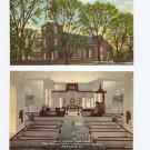 2 VINTAGE UNUSED POSTCARDS Curteich Colortone WILLIAMSBURG VA Bruton Church