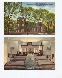 2 VINTAGE UNUSED POSTCARDS Curteich Colortone WILLIAMSBURG VA Bruton Church