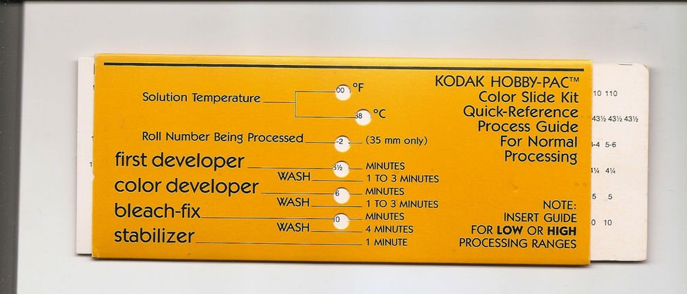 KODAK Hobby Pac COLOR SLIDE QUICK-REFERENCE PROCESSING GUIDE 79848-A
