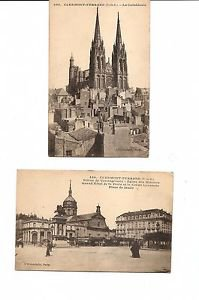 Postcards - CLERMONT-FERRAND FRANCE 1910s Cathedral + Place de Jaude