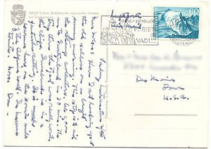 LIECHSTENSTEIN Postcard to Iowa USA 60c Scott 342 Pictorial cancel 1962
