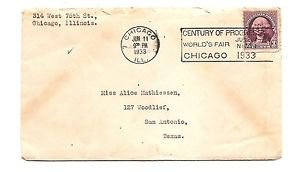 USA - COVER - 1933 Century of Progress slogan cancel