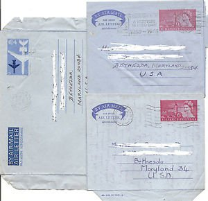 UK GREAT BRITAIN  3 Airletters used to USA - 1969