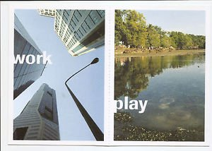 POSTCARDS Singapore URBAN REDEVELOPMENT CBD Skyscrapers + Pulau Ubin 2002