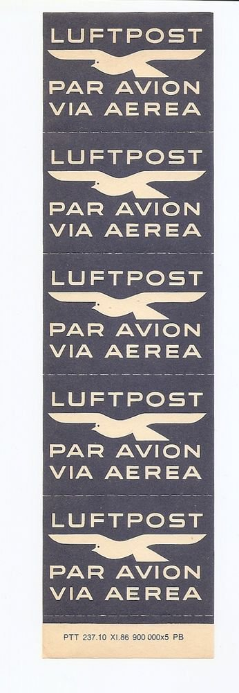 SWITZERLAND pane sheet of 5 Air Mail etiquettes MINT NH