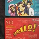 SINGAPORE Phonecard Singtel HELLO CARDS  USED / NO AIRTIME VALUE