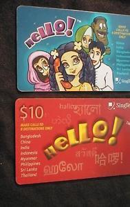 SINGAPORE Phonecard Singtel HELLO CARDS  USED / NO AIRTIME VALUE