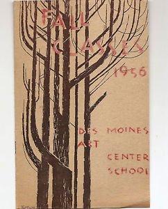SYD FOSSUM Cover - DES MOINES ART CENTER Fall Class brochure 1956
