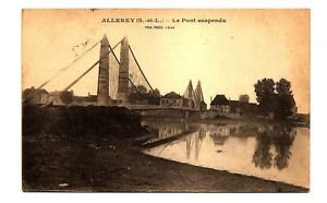 POSTCARD Allerey, FRANCE, Suspension Bridge, US soldier Mail, 1919