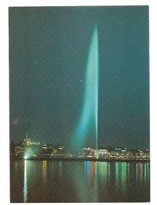 POSTCARD -Geneva Switzerland JET d'EAU + Cathedrale night view late 1980s
