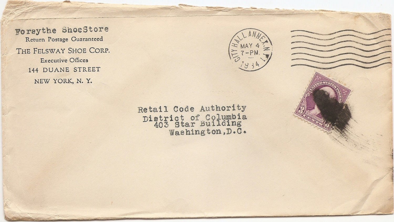 1934 US Commercial Cover showing black ink blot mute cancel NY to Wash DC
