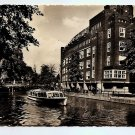 POSTCARD - Amsterdam - canal boat + Stadhuis - Photo card 1950s?