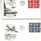 USA FDC COVER - Air Mail Scott C51 / C60 7c Air Mail Jet Plane Block of Four