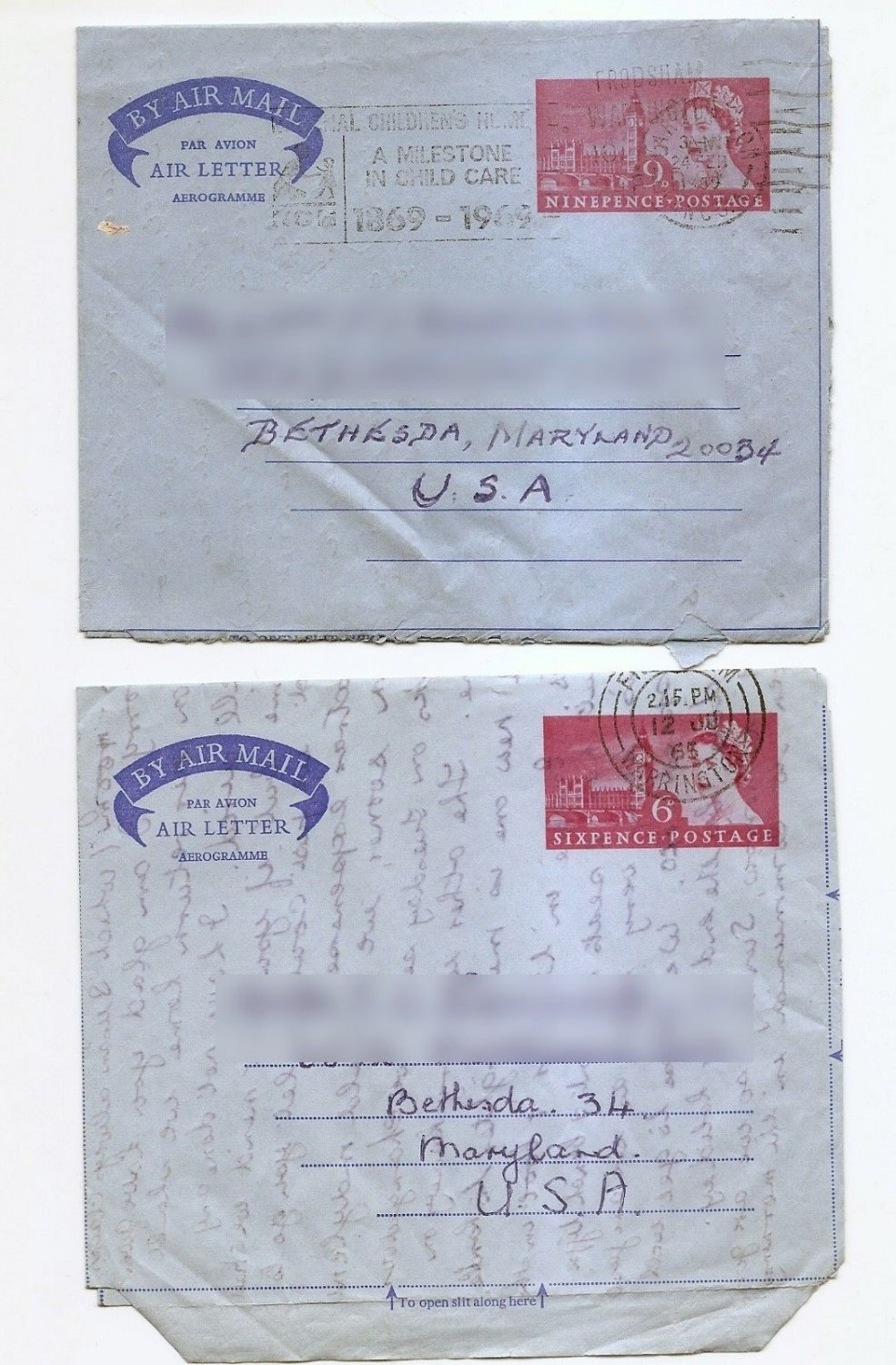 GREAT BRITAIN UK  Aerogramme Air Letters 6d / 9d Westminster Used to USA