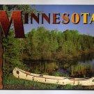 POSTCARD - Minnesota - lake and canoe