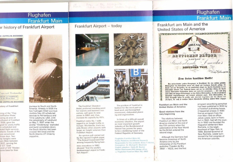 FRANKFURT MAIN Airport GERMANY - Historical Brochure 1983