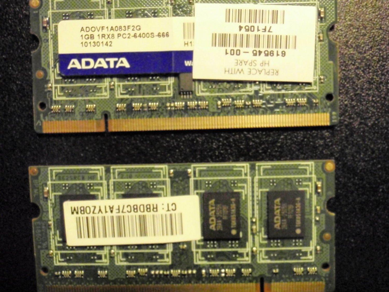 2 Pack 1GB RAM 1RX8 PC2-6400S-666 ADATA Memory
