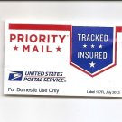US Postal Service PRIORITY MAIL self adhv USPS Label 107R Etiquette July 2013