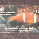 BIOT DIEGO GARCIA Telephone Card Cable & Wireless $10 FISH USED / NO AIRTIME