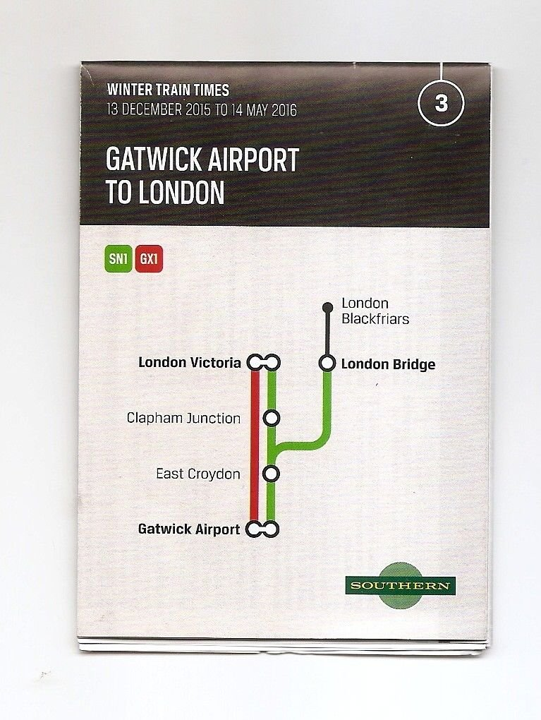 SOUTHERN RAILWAYS UK England Gatwick Airport to London Winter 2016 Timetable