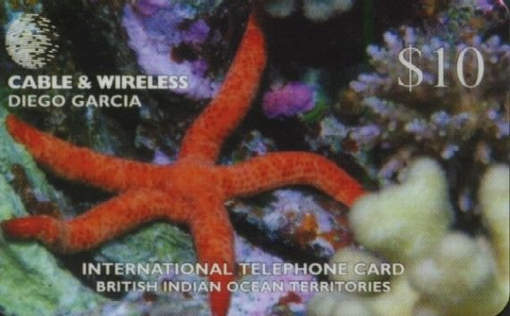 BIOT DIEGO GARCIA Telephone Card Cable & Wireless $10 STARFISH USED / NO AIRTIME