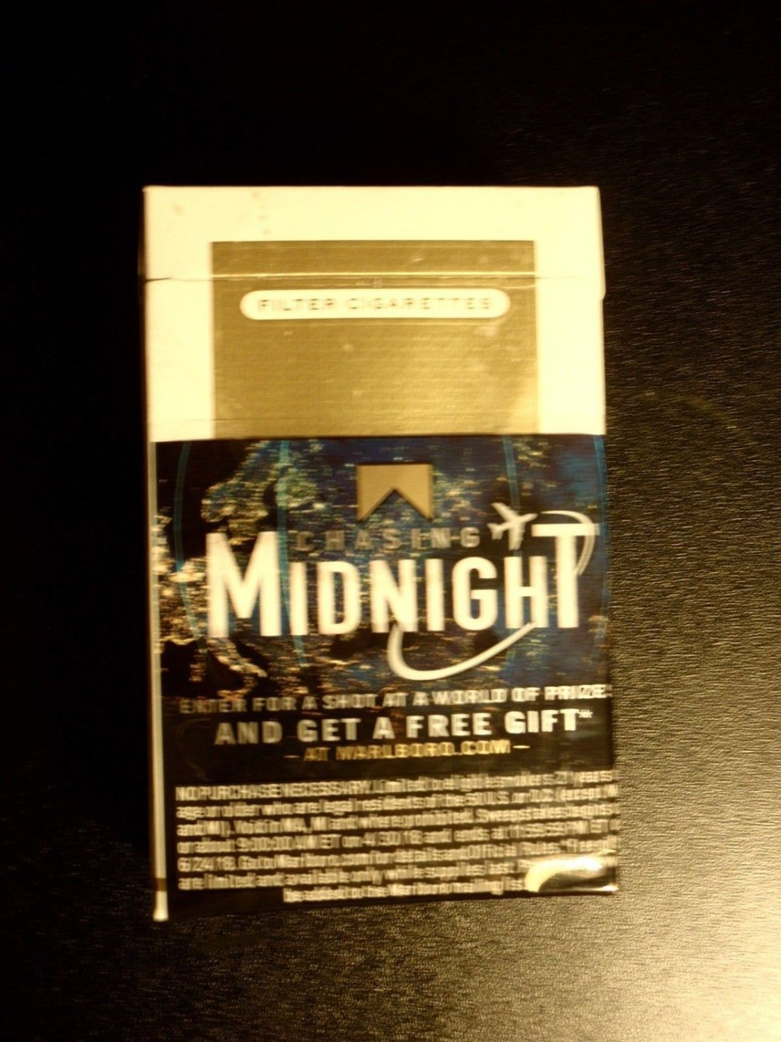 EMPTY CIGARETTE BOX EMPTY PACK USA MARLBORO GOLD CHASING MIDNIGHT Virginia tax stamp