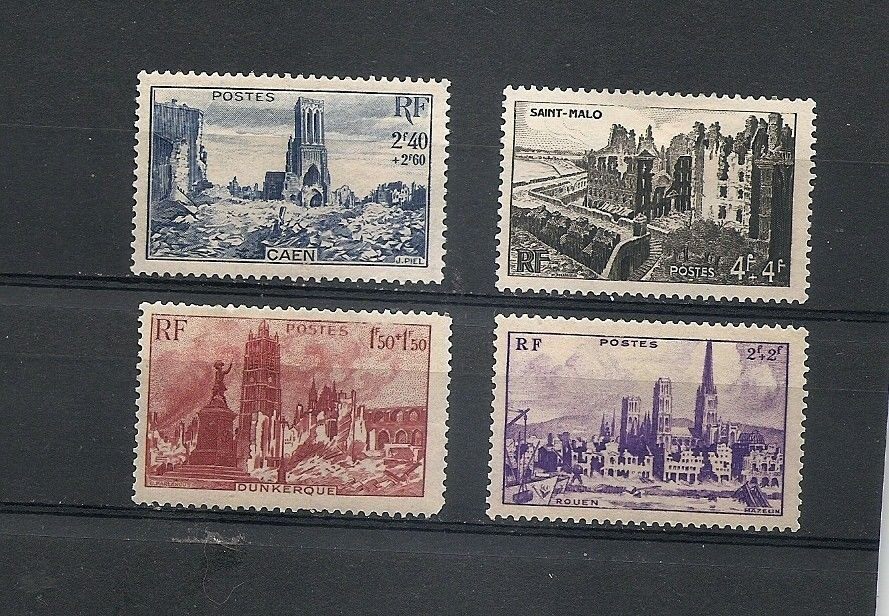 FRANCE War Ruins 1945 Set of 4 Yvert 744-747 Scott B197-200 MH