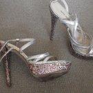 Nine West Warm Candy 8M high heel shoes silver platform sparkle - party club