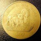 TANZANIA Coin 200 Shilingi - Sheikh Karume + Lions - 1998 VG-F
