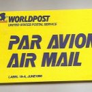 USA - USPS Air Mail Etiquette Label 19A June 1990 World Post Unused