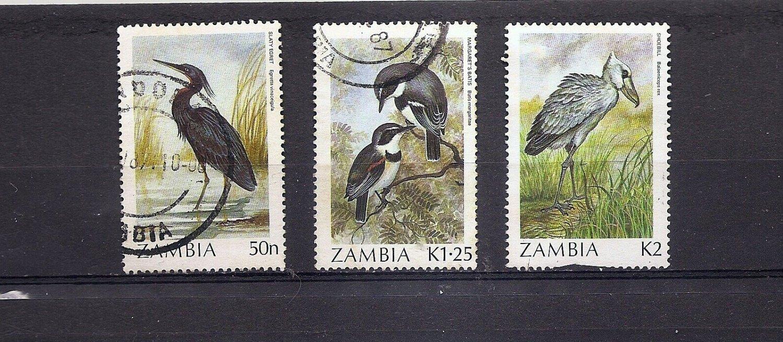 ZAMBIA - short set Birds definitives 1987-88 Fine used