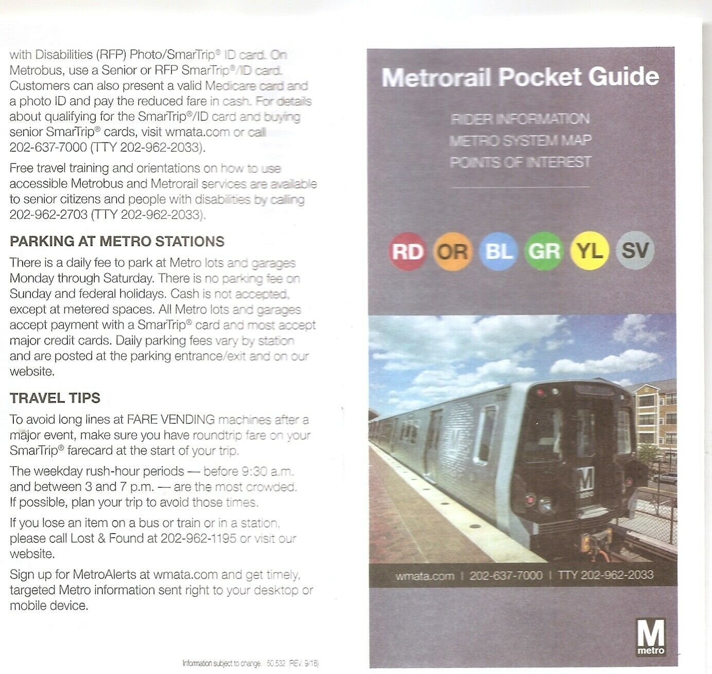 Washington DC USA METRO system Subway GUIDE and MAP 9/18