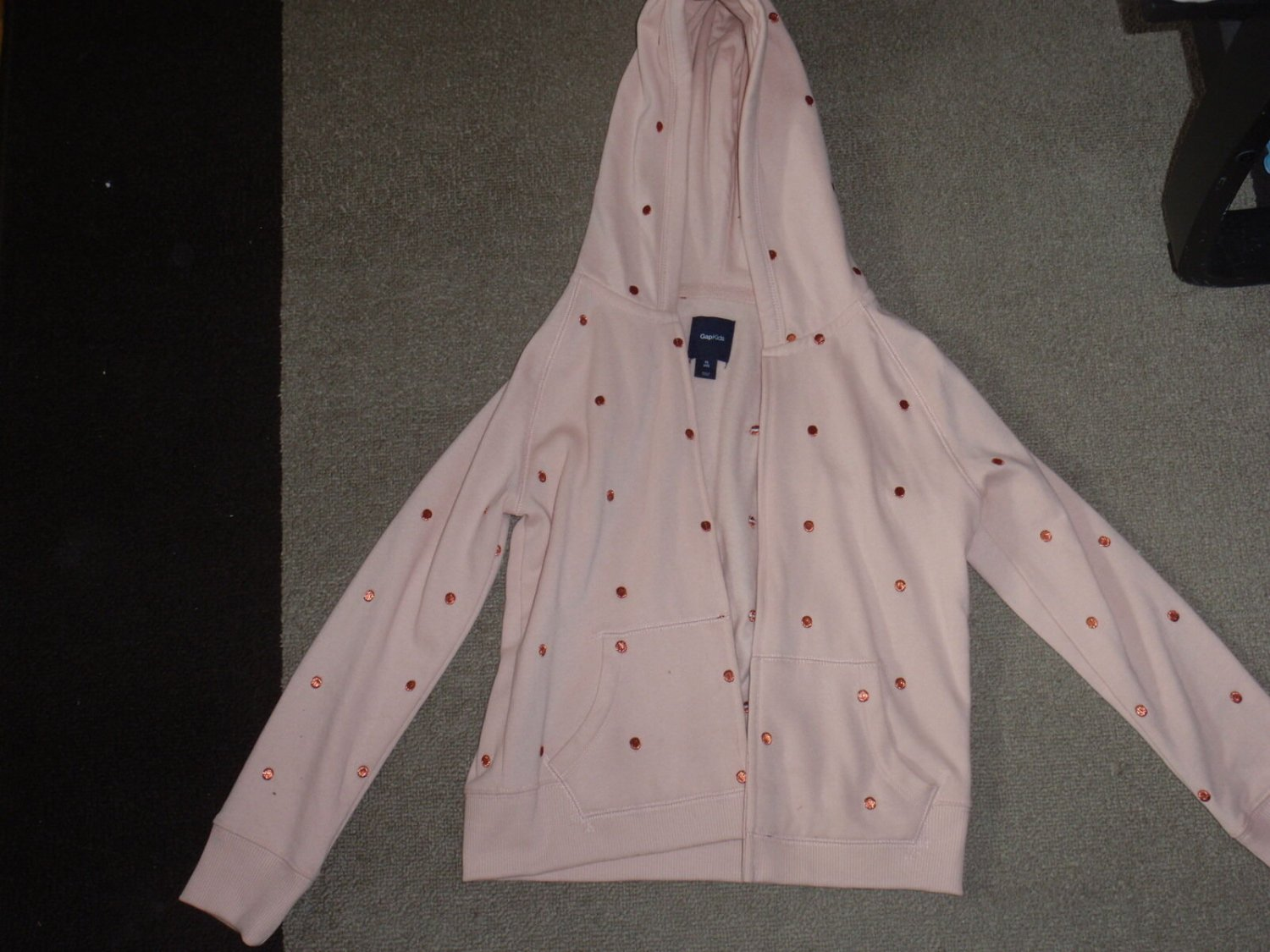 Girls HOODIE GAP KIDS Size XL 12 Light Pink Zips SOFT INSIDE!