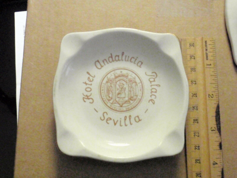 Vintage Ceramic Ashtray HOTEL ANDALUCIA PALACE Seville Spain 1960s
