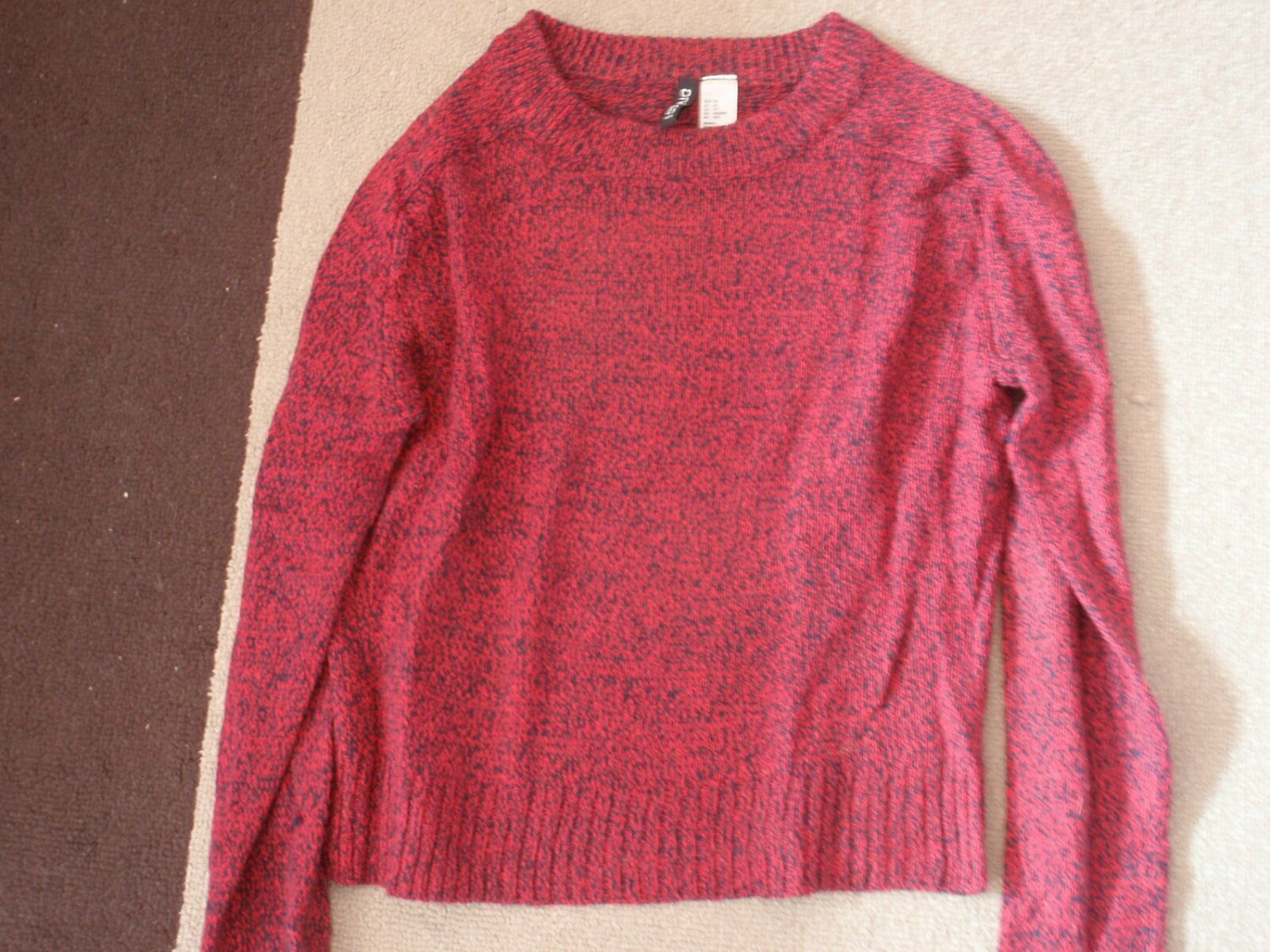 WOMENS SWEATER PULL OVER H&M Maroon and Black  SIZE XS