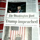 TRUMP IMPEACHED - Washington Post / New York Times Front sections Dec 19, 2019