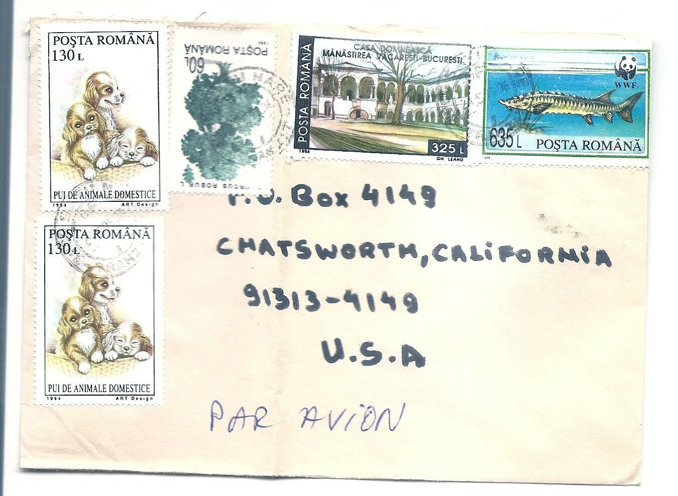 ROMANIA - 1995 Cover Multiple frankings to USA - Actor JEAN CLAUDE VAN DAMME