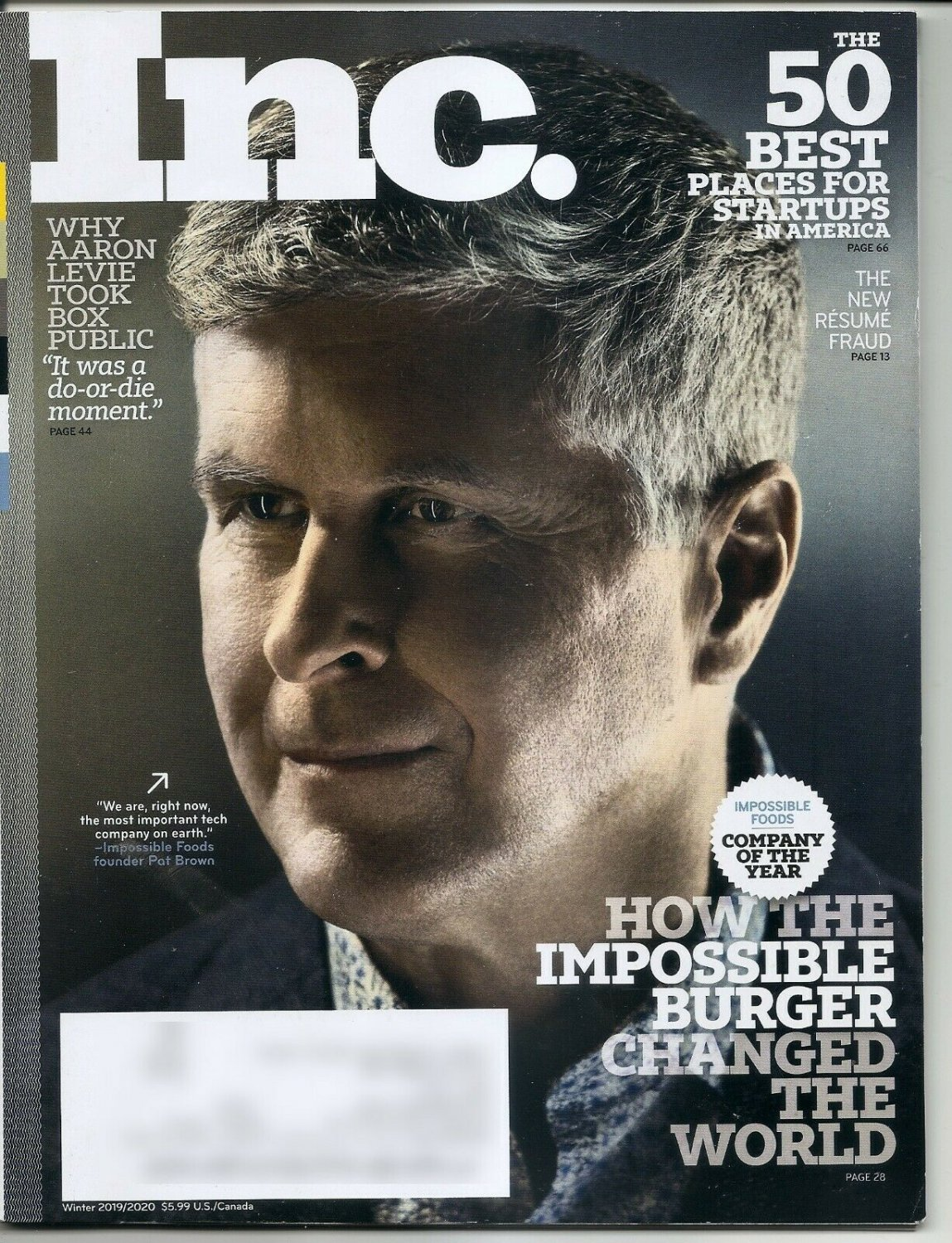 INC Magazine  Winter 2019/2020 50 Best Cities for Startups, Impossible foods