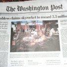 """JOBLESS CLAIMS SKYROCKET TO RECORD 3.3 MILLION"" Washington Post Mar 27 2020"