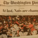 WASHINGTON NATIONALS WORLD SERIES 2019 Washington Post NATS ARE CHAMPS