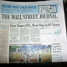 DOW SOARS 11% BEST DAY IN 87 YEARS Wall Street Journal Front Section Mar 25 2020