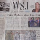 TRUMP DECLARES VIRUS EMERGENCY Wall Street Journal Front Section Mar 14, 2020