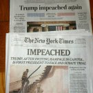 WASHINGTON POST / NEW YORK TIMES - TRUMP IMPEACHED January 14 Front Sections