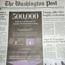 500,000 DEATHS - Pandemic - Washington Post Front Section February 22 2021