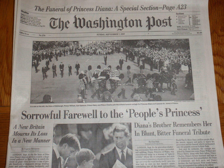 WASHINGTON POST Princess Diana Death Funeral Newspaper September 7, 1997