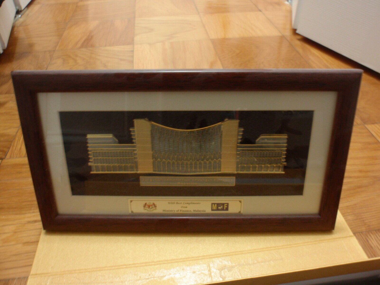 Malaysia Ministry of Finance plaque - pewter - in original case