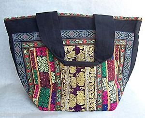 Large Multi-Color ARTISAN EMBROIDERY HANDBAG TOTE Ethnic Tribal Canvas Leather