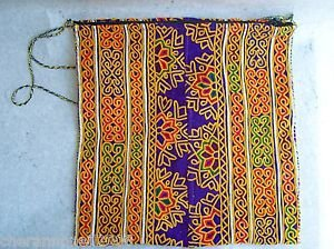 MultiColor ARTISAN HAND-STITCHED EMBROIDERED BAG Ethnic Tribal Fabric Pouch (#3)
